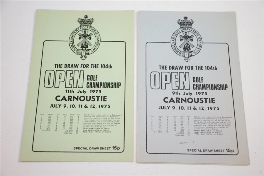 1975 OPEN Championship at Carnoustie Official Program with Two Special Draw Sheets