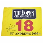 Tiger Woods Ltd Ed Signed 2000 The OPEN Championship 18th Hole Flag UDA #BAJ59781