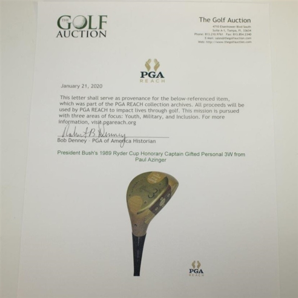 President Bush's 1989 Ryder Cup Honorary Captain Gifted Personal 3W from Paul Azinger