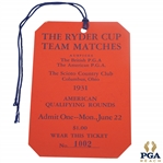 1931 Ryder Cup at The Scioto Country Club Monday Ticket #1002 - Excellent Condition