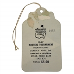 1947 Masters Tournament Fourth Rd Sunday Ticket #1455 with Original String