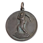 Vintage Circa 1900 Unmarked Medal with Long Nose Golf Club Swinging Golfer
