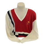 Mark Calcavecchias 1989 Ryder Cup USA Team Issued Red/White/Blue Cashmere Sweater
