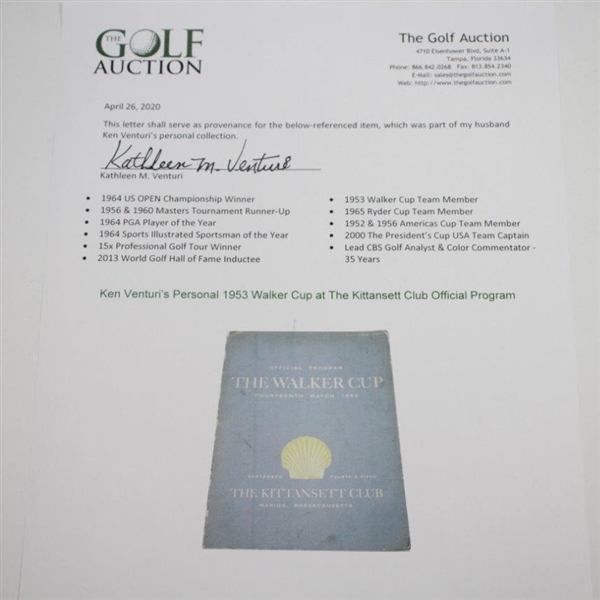 Ken Venturi's Personal 1953 The Walker Cup at The Kittansett Club Official Program