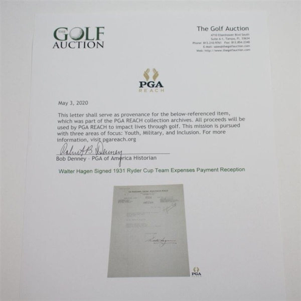 Walter Hagen Signed 1931 Ryder Cup Team Expenses Payment Reception JSA ALOA