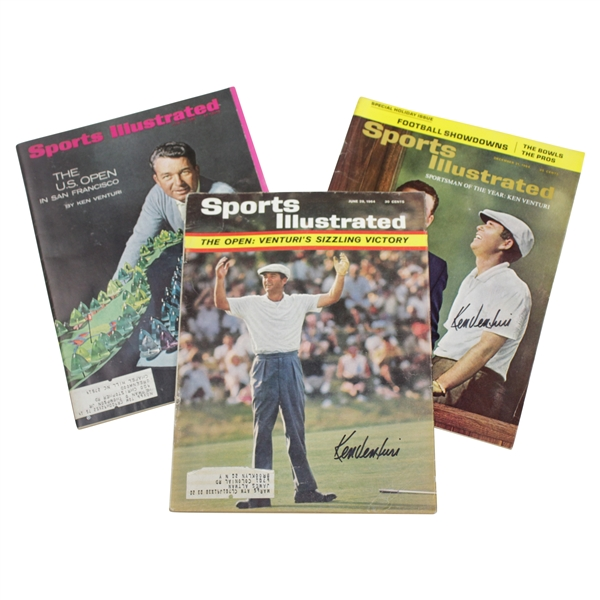Ken Venturi's Personal Signed Sports Illustrated Magazines - June 1964, Dec 1964, & June 1966 JSA ALOA