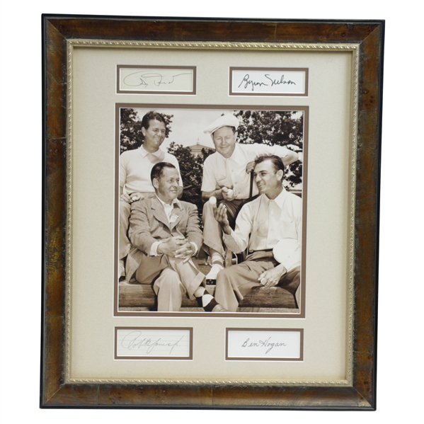 Bobby Jones, Demaret, Hogan, & Nelson Signed Cuts with Surrounding 1940's Sepia Photo of Group JSA ALOA