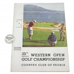 1934 Western Open at Country Club of Peoria Program & Contestant Badge - Rod Munday Collection