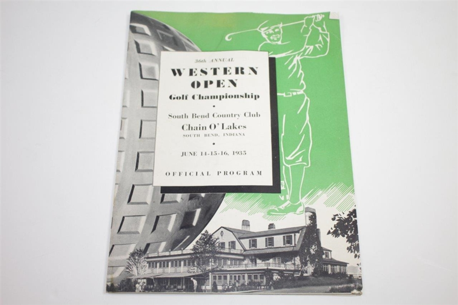 1935 Western Open at South Bend Country Club Program & Contestant Badge - Rod Munday Collection