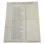 1947 US Open at Saint Louis Country Club Saturday Pairings Sheet  - Rod Munday Collection