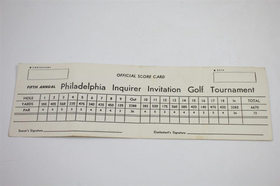 1948 Philadelphia Inquirer Inv. at Whitemarsh Contestant Badge, Program, & Scorecard - Rod Munday Collection