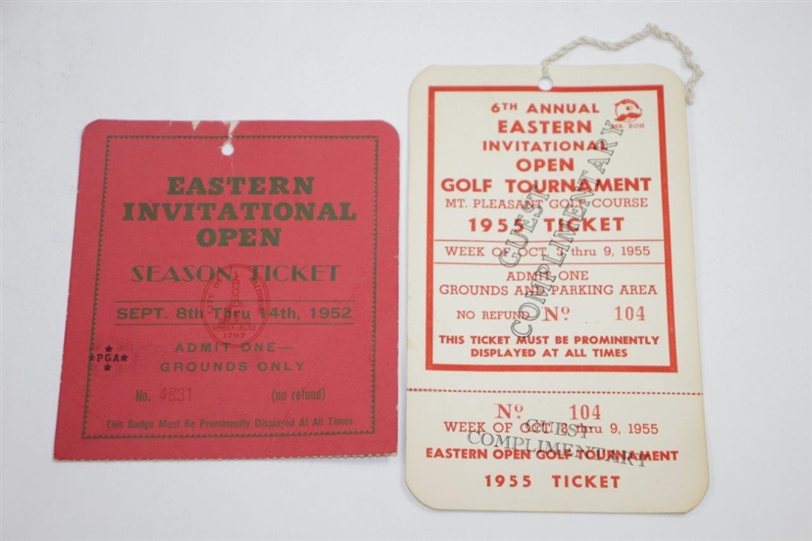 1950's Eastern Open Tickets, Contestant Badges, Program, Pairing Sheets - Rod Munday Collection