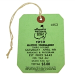 1959 Masters Tournament Third Round Badge #1863 - Art Wall Winner
