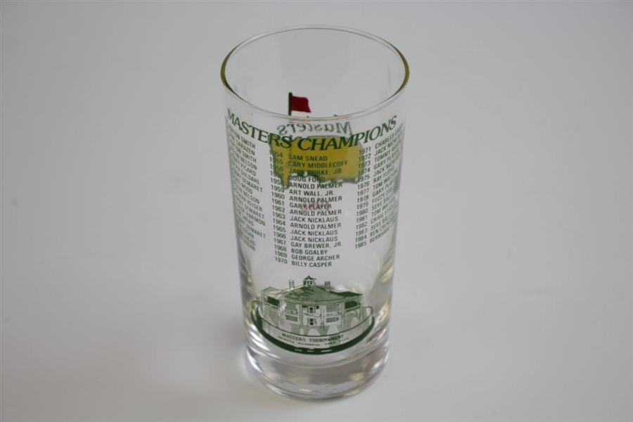 1986 Masters Tournament Commemorative Champions Glass Listing Winners - Nicklaus Win