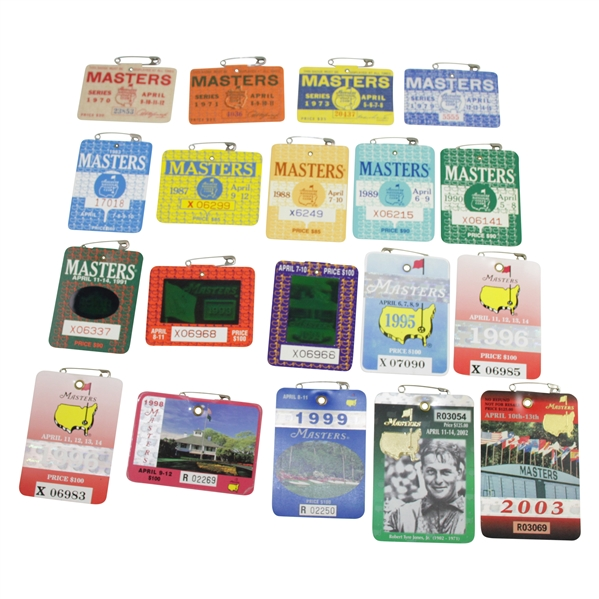 1970-2003 Masters Tournament SERIES Badges - Variety of Years