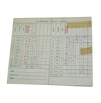 1960 Cypress Point Scorecard - Bing Crosby and Charley Penna Used