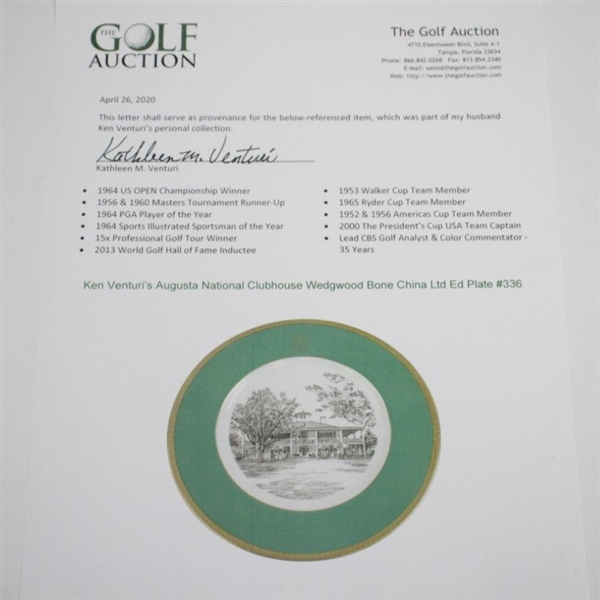 Augusta National Clubhouse Wedgwood Bone China Ltd Ed Plate #336 - Gifted to Ken Venturi