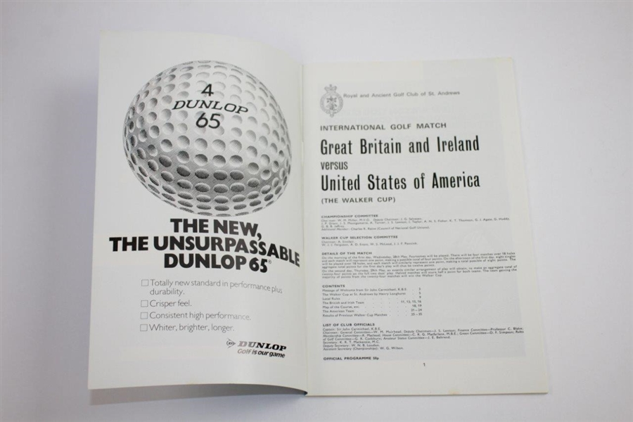 1975 The Walker Cup at The Old Course St. Andrews Official Program