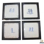 Four Delft Golf Decorated Porcelain Tiles with Black Frames