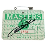 Bernhard Langer Signed 1985 Masters Series Badge #A1893 JSA #N48510