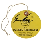 Gary Player Signed 1974 Masters Tournament Tuesday Ticket #184 JSA #HH13129