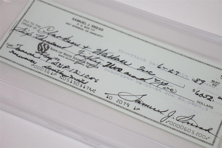 Samuel J. Snead Signed 6/27/1989 Personal Check PSA/DNA GEM MT 10 #83511574