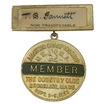 1922 US Amateur Championship at The Country Club Brookline Member Badge - T.B. Gammett