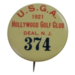 1921 US Womens Amateur Championship at Hollywood GC Badge #374 - Won by Marion Hollins Developer of Cypress Point