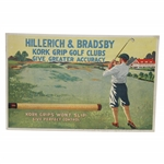 Vintage Hillerich & Bradsby Kork Grip Golf Clubs Advertising POS 9 1/2 x 14 1/2 Broadside