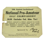 1959 Bing Crosby National Pro-Am Sunday Final Round Ticket #788 - Art Wall Winner