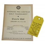 1934 Riverside $2k Pro-Amateur Tournament at Victoria Club Ticket with Info Guide Sheet