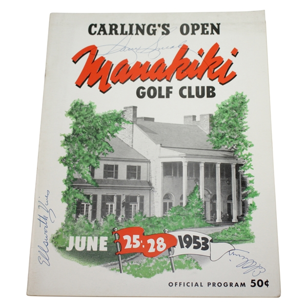 Sam Snead, Ellsworth Vines, & Ed Oliver Signed 1953 Carling's Open Program FULL JSA #X22541