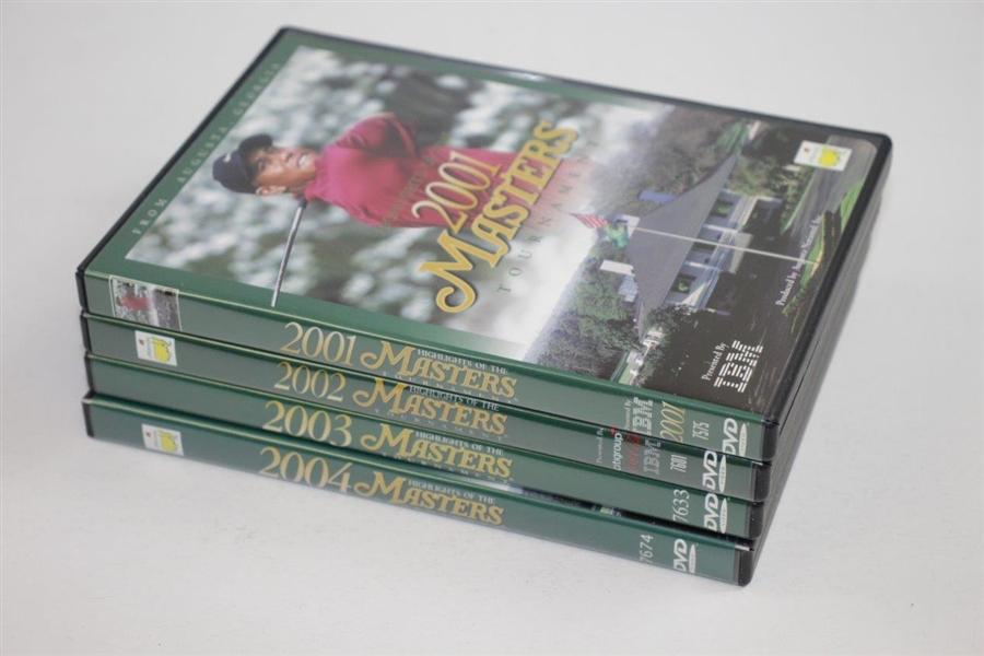 2001, 2002, 2003, & 2004 Official Masters Tournament 'Highlights' DVDs in Cases