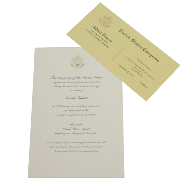 Arnold Palmer Congressional Gold Medal Ceremony Congress of the United States Brochure & Ticket