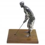 "Large Silver Plated Golfer Figure Addressing Golf Ball on Wood Base - 14"" Tall!"
