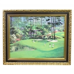Vibrant Enhanced Amen Corner at Augusta National Presentation Poster by Mark King - Framed