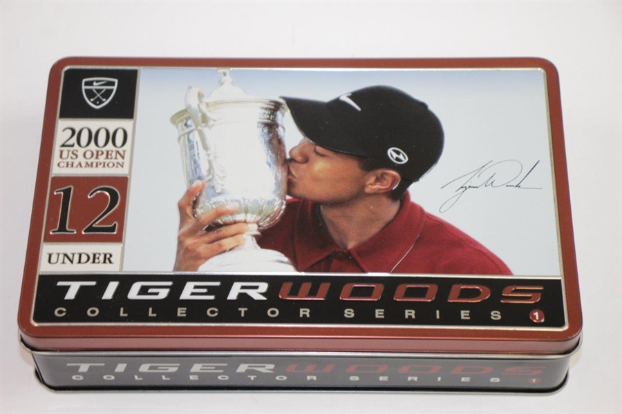 Tiger Slam Commemorative Golf Ball Tins for Masters, PGA, US Open, & OPEN Victories - Complete Set