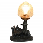 Classic Golf Themed Lamp with Post-Swing Golfer & Two Spectators on Bench - Works