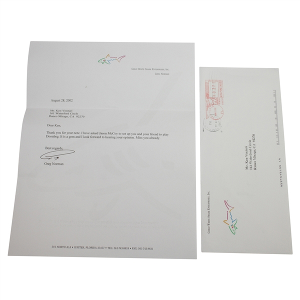 Ken Venturi's Personal Signed Letter from Greg Norman - Playing Doonbeg JSA ALOA