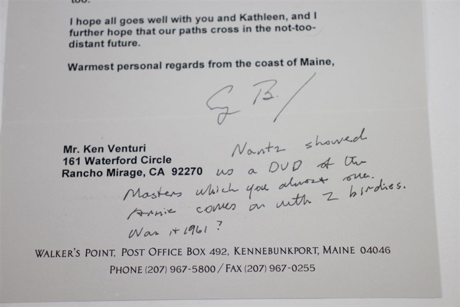 Ken Venturi's Personal Signed Letter/Note with Handwriting from President George Bush JSA ALOA