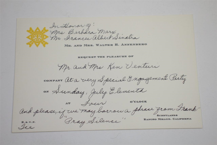 Ken Venturi's Personal Invitation to Engagement Party from Barbara & Frank Sinatra