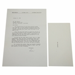 Ken Venturis Personal Signed Letter from Ben Hogan - US Open Under Toughest Content JSA ALOA