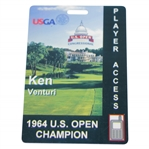 Ken Venturis Personal 1964 US Open Champion Player Access Card for 2011 US Open - Gifted Medal to Congressional