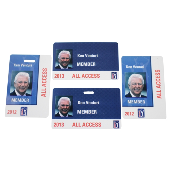 Ken Venturi's Personal 2012(x2) & 2013(x2) Member/All Access Cards for PGA Tour