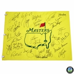 Bernhard Langers 2019 Masters CHAMPS Dinner Flag Signed by 30 with Tiger & Jack Center! JSA ALOA