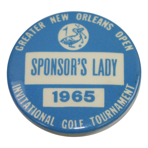 1965 Greater New Orleans Open Invitational Golf Tournament Sponsor's Lady Badge