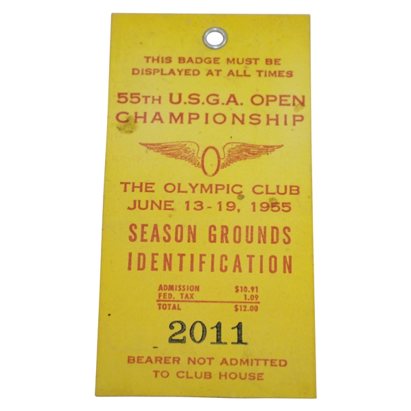 1955 US Open at The Olympic Club Season Grounds Ticket #2011 - Billy Casper Winner