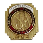 1934 US Open at Merion Contestant Badge - Olin Dutra Winner - Great Condition