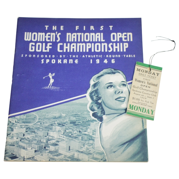 1946 Women's National Open Championship at Spokane Program with Ticket - The First