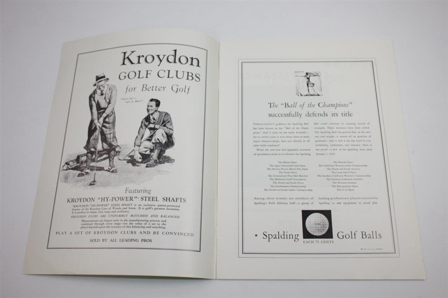 1931 PGA Championship at Wannamoisett CC Program - Tom Creavy Winner